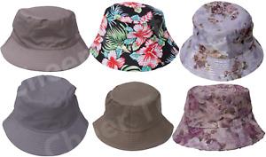 Mens Ladies Hat Plain Flower Bucket Design 100% Cotton Adult Summer Holiday Cap