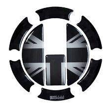Tankdeckel 3D Pad Union Jack Silver Flagge 650004 universell für Triumph Tanks