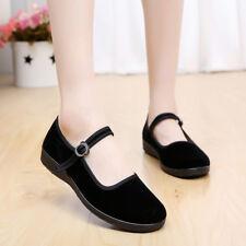Women's Black Chinese Shoes Ballerina Velvet Fabric Cotton Sole Flats Work Shoes