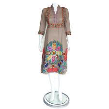 VINTAGE Ethnic Hippie Boho Embroidered Indian Festival Dress sz M /2129