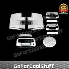 For 09-14 FORD F150 Chrome Mirror+2 Door W/O Key Pad W/ PKH+Tailgate+Gas Cover