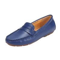 JENN ARDOR Penny Loafers for Women Vegan Leather Slip-On Ballet Flats Navy