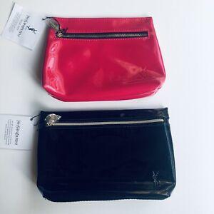 2pc Yves Saint Laurent Makeup Bag Zip Clutch in Pink & Black