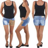 Damen Hot Pants Hotpants Jeans Shorts Kurze Hose Capri Hüft Stretch Gold Blau