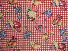 Red White Check Spectrum Fabrics Tutti Fruity cottton Picnic Summer Fruits & Fun
