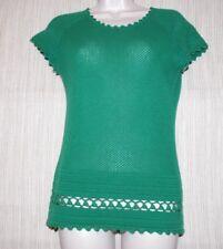 CATHERINE MALANDRINO GREEN CASHMERE SHORT SLEEVE Mesh Top Sweater Size M