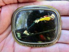 Vtg Skiing Belt Buckle Ski Jump Skier Jumping Downhill Brass Rare Vg+