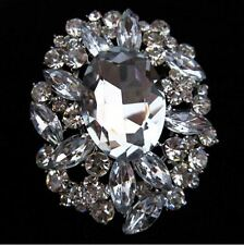 "3"" LARGE SILVER TONE VINTAGE LOOK  BROOCH WITH CLEAR RHINESTONES"