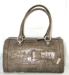 GUESS BY MARCIANO TAUPE SUMMERLAND PATENT LEATHER CROC PRINT TOTE, HANDBAG-NEW