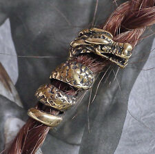 Bartcreole + Bartgummi Bart Perle Bartperle Bartschmuck Bronze DRACHE LOCH 5,6mm