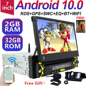 """7"""" Android 10 Single 1Din Car Stereo Radio GPS Wifi OBD2 Mirror Link DVD Player"""