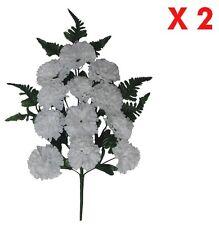 White Carnation Memorial Flower (Pack 2 Sprays) Indoor Outdoor Cemetery Grave