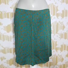 Eddie Bauer Women's Midi Skirt Turquoise Side Zip Bohemian Chic Lined Size 8