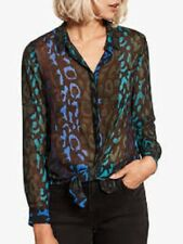 Mint Velvet Top Blouse 14 ALEX Chiffon Leopard Print Button Back IMMACULATE