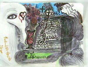 """ARTWORK RICHARD """"NO HANDS"""" ELLIS Yahweh Jesus Drawing"""