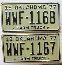 Oklahoma 1977 CONSECUTIVE NUMBER FARM TRUCK License Plates NICE QUALITY