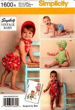 Simplicity Sewing Pattern 1600 Vintage Baby Romper Bikini Panties Bonnet XXS-L