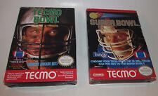 Tecmo Bowl & Super Bowl Complete CIB Nintendo NES Games Good Shape