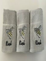 Pack of Three Bee Kind Kitchen Hand Tea Towel in Grey 100% Cotton 50cm x 65cm