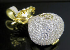 "Yellow Gold Finish Sterling Silver .925 Lab Diamond Money Bag Pendant 1.6"""