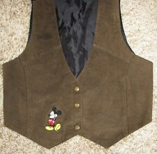 Disney Mickey Unlimited Brown Suede Vest Medium Large M/L MIckey Mouse