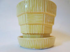 Small FLOWER POT PLANTER! Vintage MCCOY pottery BARK & BLOCK design gloss YELLOW