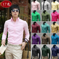 Fashion Office men's long sleeve Formal Casual Suits Slim Fit Blouse Dress Shirt