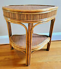 HTF Vintage MCM Wicker Bamboo Unquie Kidney shaped Table PRISTINE!