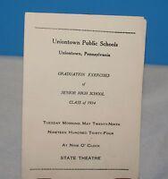 COMMENCEMENT PROGRAM UNIONTOWN HIGH SCHOOL PA CLASS OF 1934