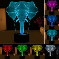 3D LED Illusion Neuheit Licht Elefant Muster Tischlampe 7Farbenwechsel USB Lampe