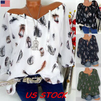 Boho V neck Women Feather Print Loose Tops Summer Casual Blouse T Shirt Plus USA