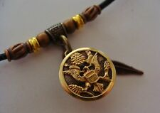 World War II Brass Eagle BUTTON Necklace Pendant Jewelry - Old Military WW II