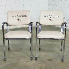 Vintage Pair Art Deco Streamline Modern RCA Victor Advertising Chairs by Chromcr