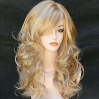 "23"" Women's Heat Resistant Hair Blonde Middle Long Curly Full Wig + Wig Cap New"