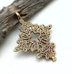 Ethiopian Coptic Cross Antique Brass Pendant