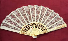 Antique Vintage Lace Fan With Hand Painted Wood