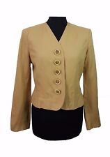 JAEGER Jacket Size 10 Light Brown Designer Races Party Wedding Vintage Office *