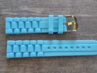WATCH BAND BRACELET MONTRE  PVC  //////// *bleu**  ****////*20MM *   REF GM73