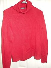 HAROLD'S Red 100% Cashmere Turtleneck L/S Pullover Sweater Sz Small