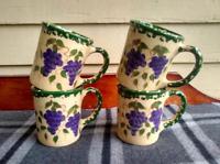 SET OF FOUR Vintage 1997 Grape Alpine Pottery Roseville Ohio Coffee Mugs Cups