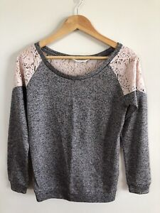 Miss Selfridge Knit & Lace Jumper - Size 8
