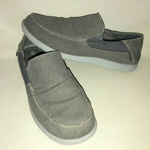 Crocs Santa Cruz Men's 13 Grey Canvas Slip On Loafer Shoes