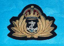 ROYAL NAVY OFFICERS WW11 KINGS CROWN METAL CAP BADGE BY J.R.GAUNT & SONS (RARE)