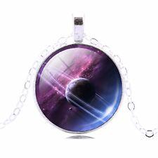 PURPLE MOON PLANET PENDANT NECKLACE Chain Jewellery Gift Idea Galaxy Space Lunar
