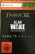 Downloads von Spiele VOLLVERSIONEN XBox 360 Fable III 3 + Alan Wake + Halo Reach