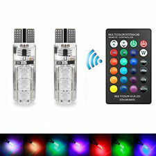 1X 12V LED T10 Remote Control RGB Car Wedge Side Light Bulbs Color Changing
