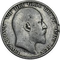 1904 SHILLING - EDWARD VII BRITISH SILVER COIN - SCARCE