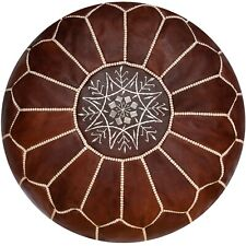 Moroccan Leather Pouf Honey Brown - Delivered Stuffed, Ottoman, Footstool