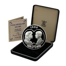 Falkland Islands Royal Wedding 25 Pounds 1986 Proof Siver Crown Mint Issued Case