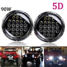 "2X 90W 7"" Round LED 5D Headlights DRL for Jeep Wrangler JK TJ LJ CJ Chevy Truck"